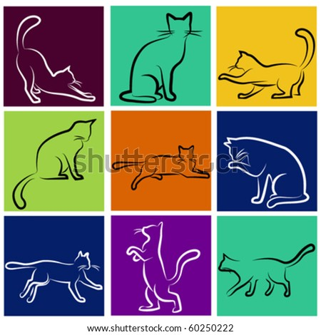 cat series - stock vector