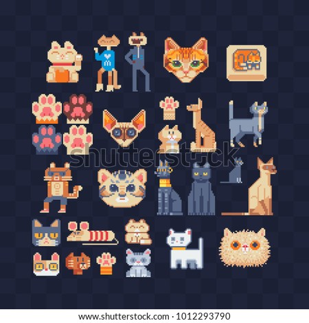 Cat Set. Flat Pixel Art 80s Style Icons. Stickers And Embroidery Design.  Game
