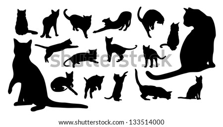 Cat silhouettes - stock vector