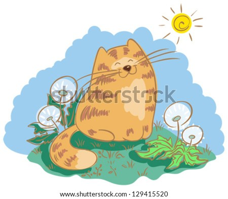 Cat sitting in the meadow with dandelions. Cat is squinting against the sun. - stock vector