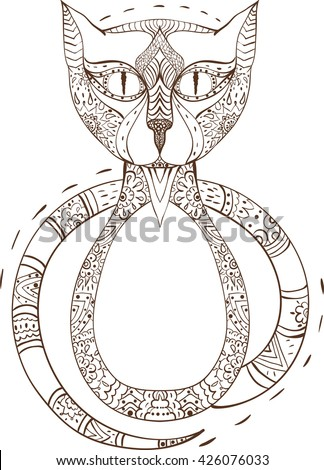 Cat sitting zentangle stylized, vector, illustration, pattern, freehand pencil, hand drawn. Zen art doodle style