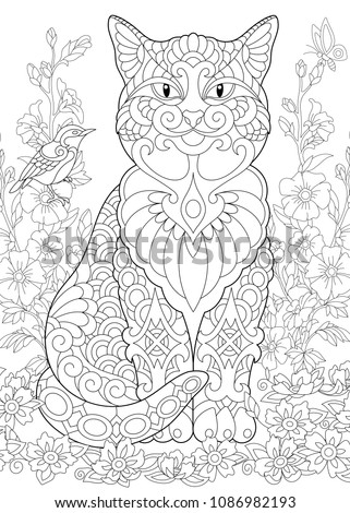 Cat Spring Garden Coloring Page Adult Book Idea Antistress Freehand Sketch