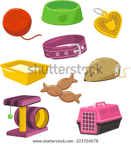 Cat Stuff Toy Set, with Wool, Feeding Bowl, heart shape necklace, Cat toilette, Cat fish shape food, Cat necklace, Mouse, Rat, Play Isle, Cat Transporting Box. Vector Illustration Cartoon. - stock vector