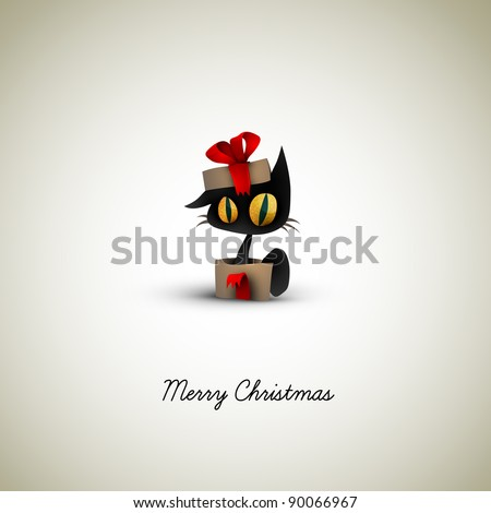 Cat Surprise in a Christmas Gift Box | EPS10 Graphic | Separate Layers Named Accordingly - stock vector