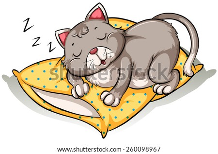 Cat taking a nap above the yellow pillow on a white background