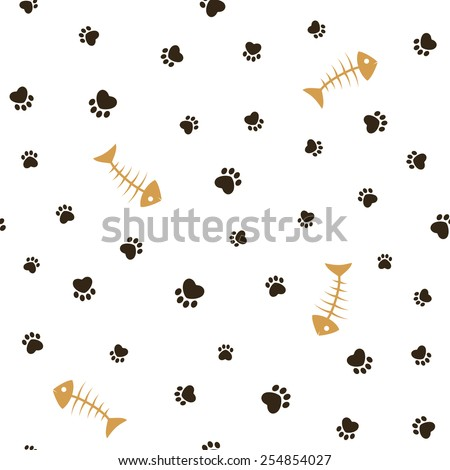 Cat theme seamless pattern with heart shaped animal paw footprints and fish bones