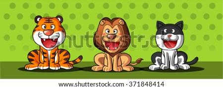cat,tiger and lion cartoon - stock vector