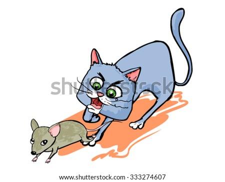 Cat Chasing Mouse Stock Vectors, Images & Vector Art | Shutterstock