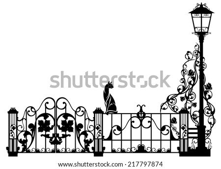 cat watching bird sitting on garden fence - black and white vector design element - stock vector