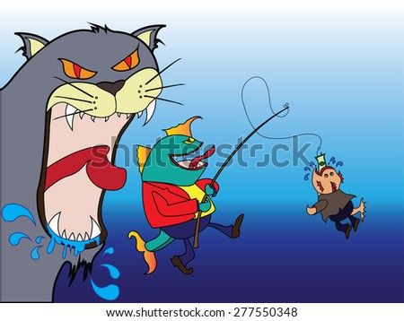 Cat will eat fish and Big fish eat little fish - stock vector
