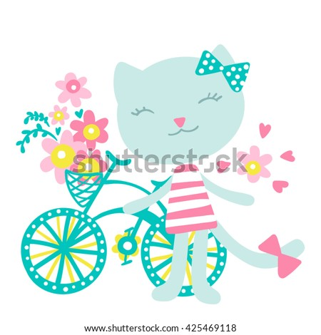 Cat with a Bicycle and Flowers Vector Illustration 7 colors - stock vector