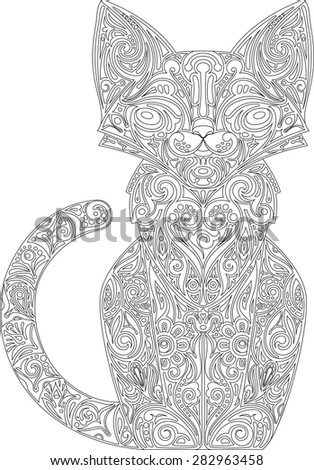 Cat with a pattern, outline - stock vector