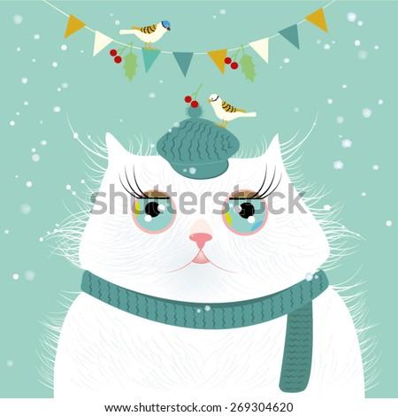 Cat with bird on head vector illustration - stock vector