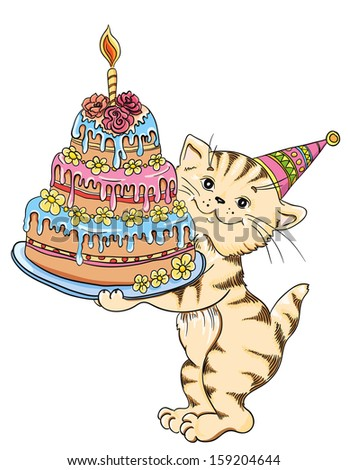 Cat with cake celebrate birthday. Vector illustration  - stock vector