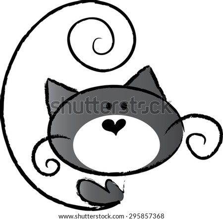 cat with heart shape