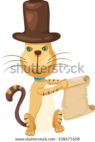 cat with map vector Illustration