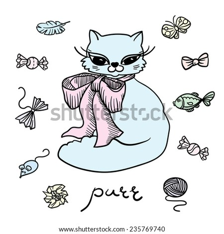 Cat with toys. Set of elements. - stock vector