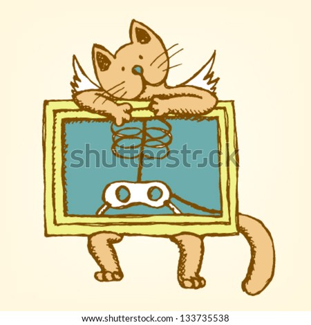 Cat with wings hold X-ray picture of his body, vector sketch illustration in color