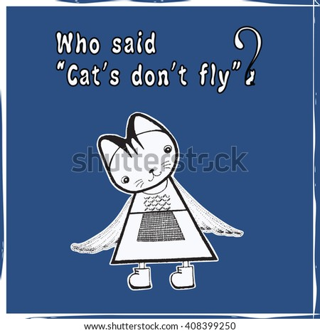 Cat with wings. Vector graphic - stock vector
