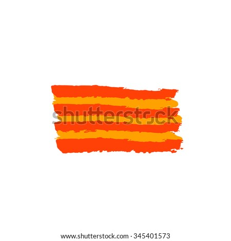 Catalan flag painted by brush hand. Catalonia art flag