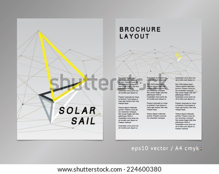 Catalog / brochure / cover / page layout. Polygonal design, geometric sharp surfaces, minimalistic three-colored digital style. Arrow shaped sail theme. Progress, development and growth concept. - stock vector