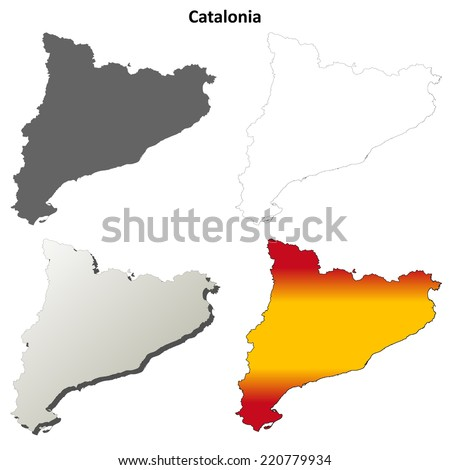 Catalonia blank detailed outline map set - stock vector