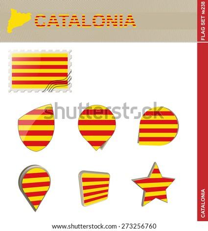 Catalonia Flag Set, Flag Set #238. Vector. - stock vector