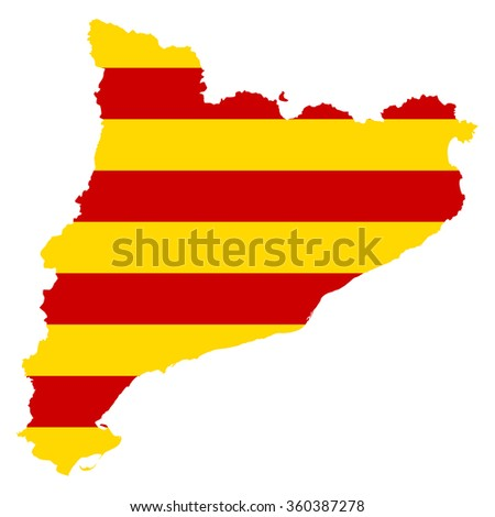 Catalonia map on Catalonia flag background vector
