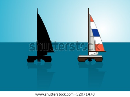 Catamaran with its silhouette - stock vector
