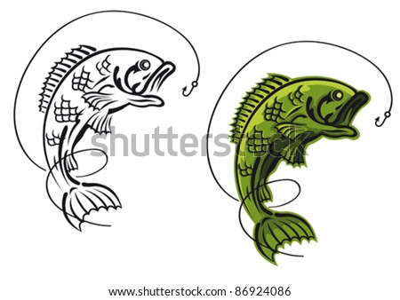 Catch a carp fish as a fishing symbol isolated on white background, such a logo. Rasterized version also available in gallery - stock vector