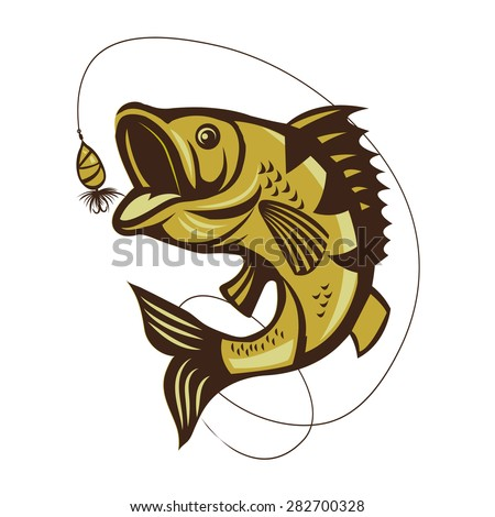 Catching Bass Fish. Fish On A White Background. Recreation Fishing. Big Fish Jumping. Catching Bass Fish Vector. Fishing Bass. Fish Mascot. Perch Fishing Vector Illustration. - stock vector
