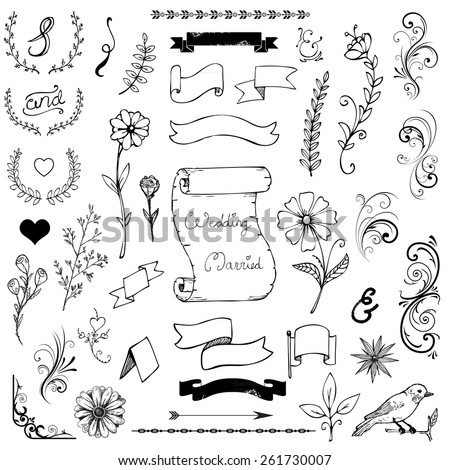 Catchwords, ribbons, ampersands design elements set isolated on white