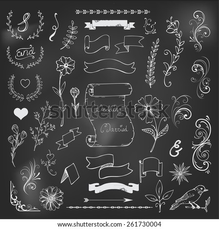 Catchwords, ribbons, ampersands design elements set on black board - stock vector