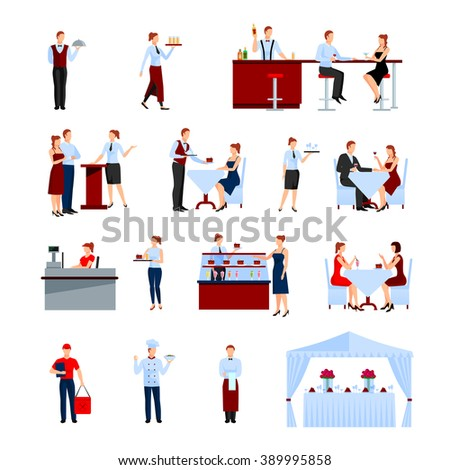 Catering in the restaurant icons set with tables and waiters flat isolated vector illustration  - stock vector