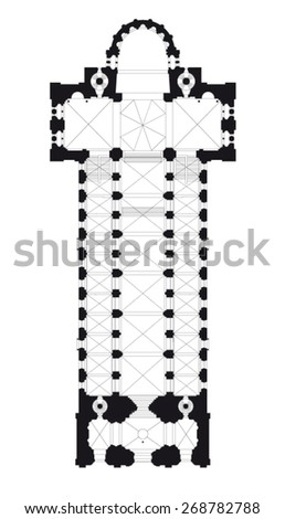 cathedral floor plan - stock vector