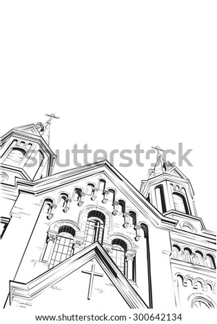 Cathedral. Vector illustration