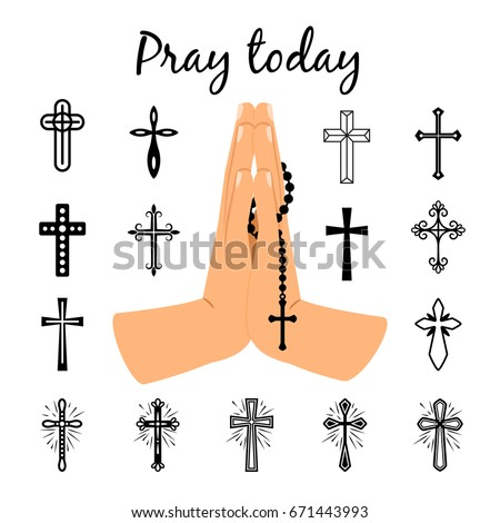 Catholic Praying Hands Holding Rosary Beads Stock Vector Royalty