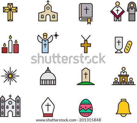 Catholic Religion icons - stock vector