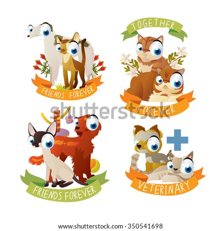 cats and dogs friendship stickers and labels. Cats and Dogs veterinary logos or badges, mascots or emblems. - stock vector