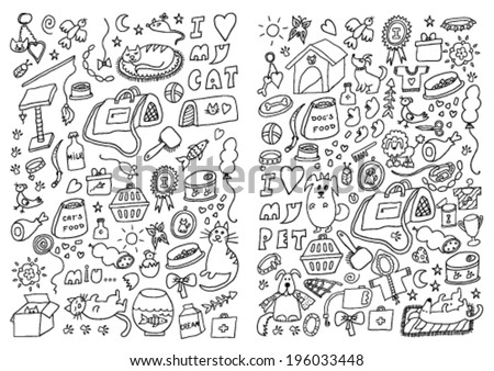 Cats and Dogs Hand Drawn Set - stock vector