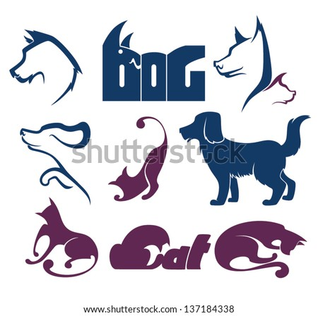 cats and dogs, my favorite pet, vector collection of animals symbols - stock vector