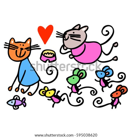 Cats and mice. Heart. Animals. Vector graphic art.