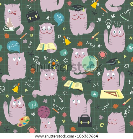 Cats At School - Vector Seamless Pattern - stock vector