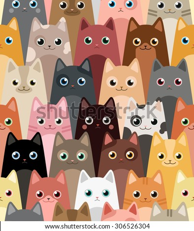 Cats. Cartoon vector seamless wallpaper. - stock vector