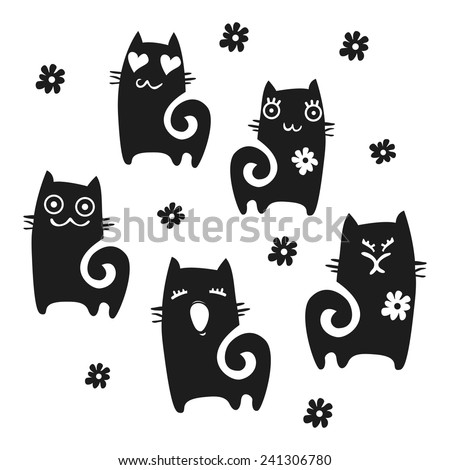 Cats collection - vector silhouette sets  - stock vector