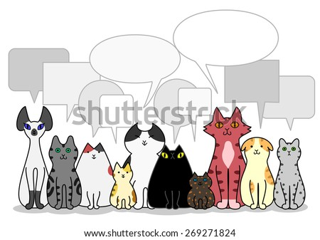 Cats group with speech bubbles - stock vector