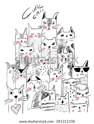 cats illustration sketch - stock vector