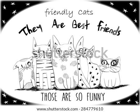Cats illustration vector - stock vector