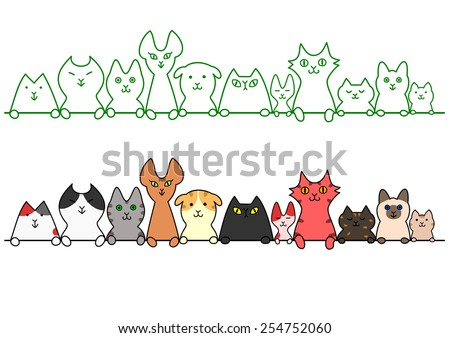 Cats in a row with copy space - stock vector