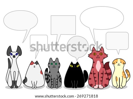 Cats in a row with speech bubbles - stock vector